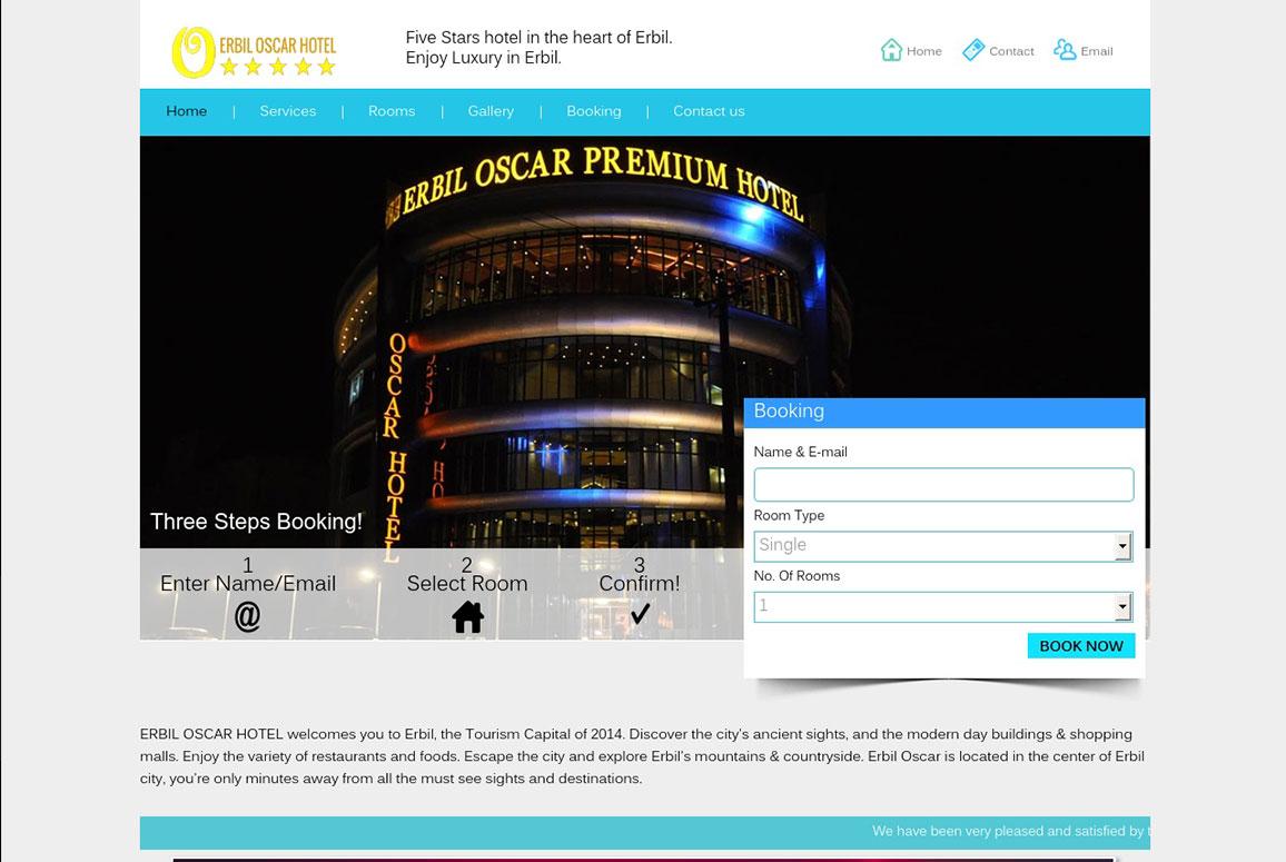 Erbil oscar hotel website pit designs for Hotel site web