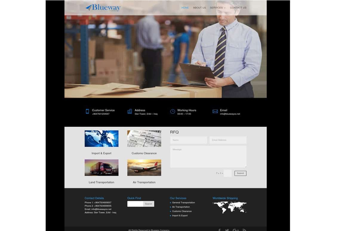 Blueway Logistics Website