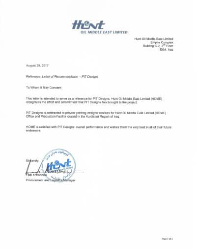 Certificate from Hunt Oil