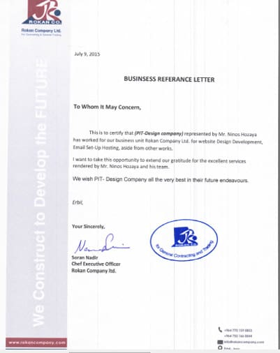 Certificate from Rokan Company