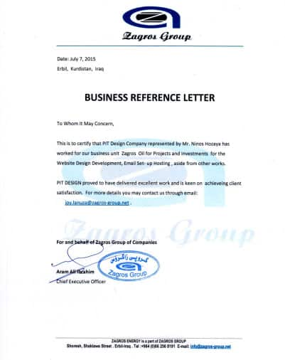 Certificate from Zagros Group