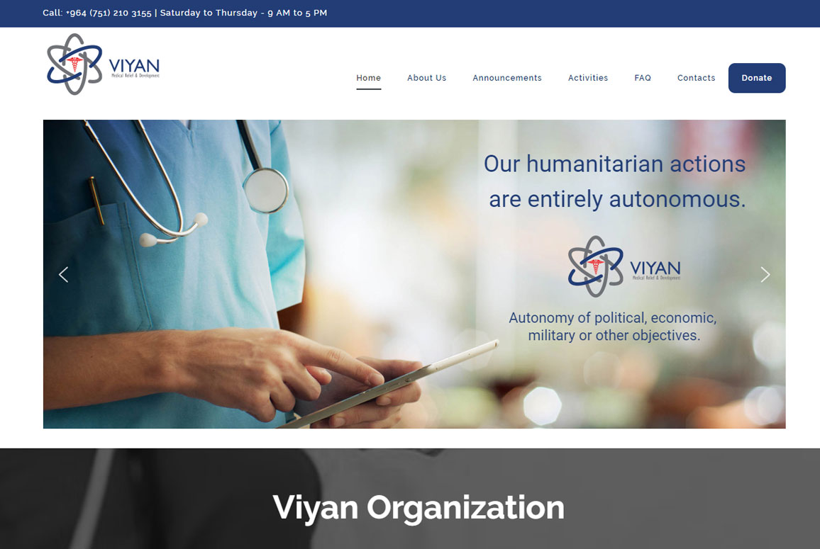 Viyan Organization Website