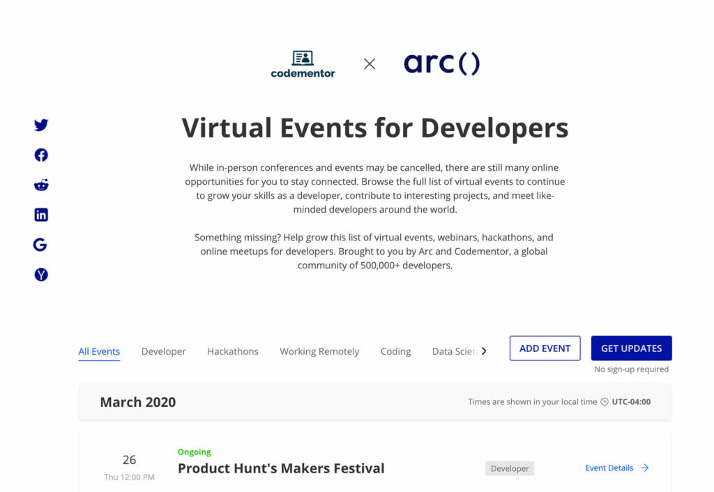 Virtual Events for Developers