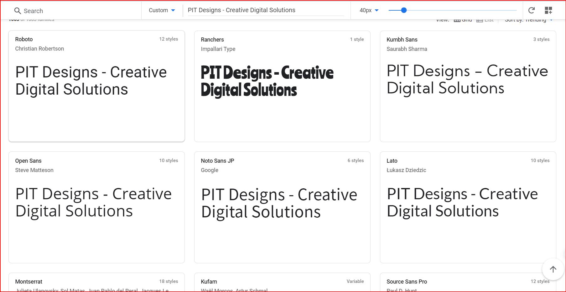 web safe fonts by Google Fonts