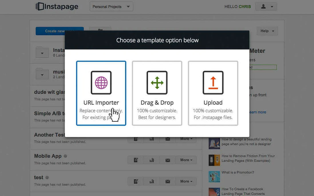 Choose Instapage template